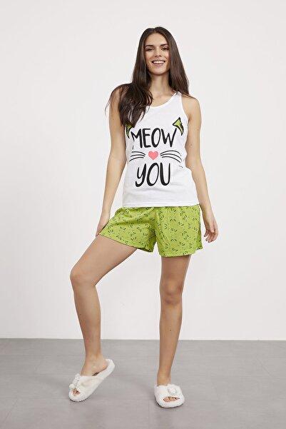 Arma Life Kadın Yeşil Şort Atlet Pijama Takımı