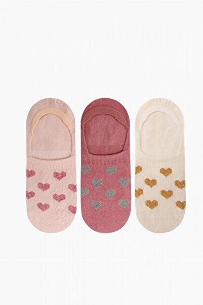 Bross 3'lü Simli Kalp Desenli Babet Kadın Çorabı