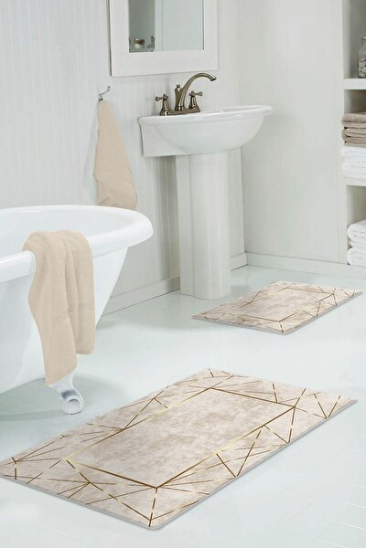 colizon 60x90 - 50x60 Alya Gold Dijital Banyo Halısı Klozet Takımı 2'li Paspas Seti