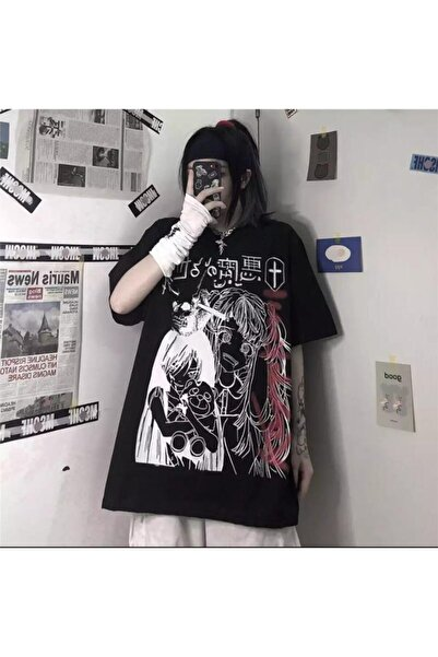 Köstebek Unisex Harajuku Gothic Girl Siyah Tişört