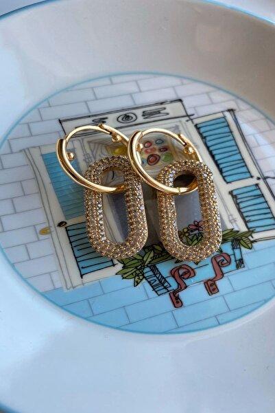 CeSo Accessorie'S Altın Kaplama Zirkon Taşlı Tasarım Küpe