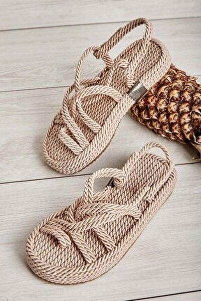 Bej Kadın Hasır Sandalet K05787020476