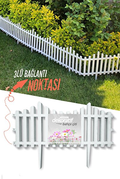 Taşmatik Dekoratif Bahçe Çiti Plastik Beyaz Çit 59 Cm Tek Peyzaj Çiti Çiçek Koruma Çiti