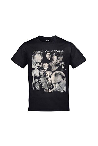Orijin Tekstil Mustafa Kemal Atatürk Kolaj Baskılı Siyah Tshirt