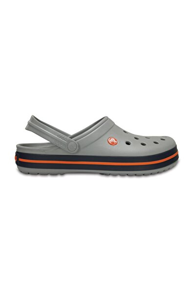 Crocs Gri Unisex Crocband Kenarı Turuncu Çizgili Terlik