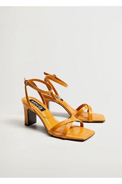 MANGO Woman Kadın  Timsah Derisi Desenli Topluklu Sandalet