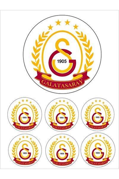 Pasta9 Yenilebilir Pasta Resmi Galatasaray Pirinç Kağıdından 6-8-10 Kişilik Pastaya Uygun 16 Cm