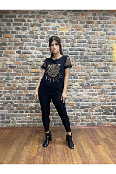 WAWA Kadın Siyah Dantelli Ve Taşlı T-shirt