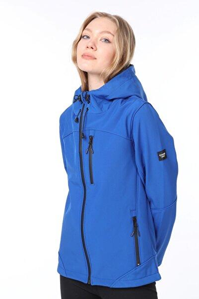 GHASSY CO. Kadın Su Rüzgar Geçirmez Softshell Mavi Spor Mont