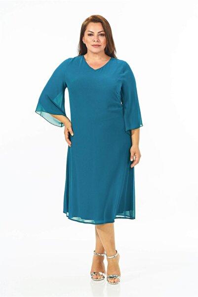 Lila Kadın Büyük Beden Turkuaz Renkli Şifon Elbise