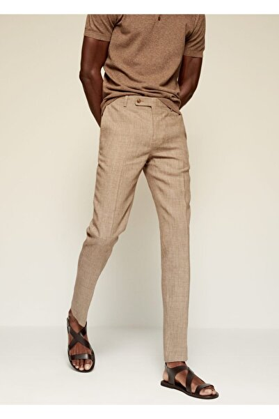 MANGO Man Dar Kesimli Keten Takım Pantolon