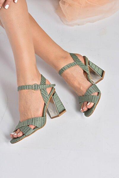 Fox Shoes Kadın Yeşil Kumaş Simli Topuklu Ayakkabı K820400004