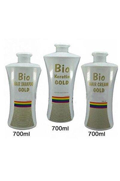Bio Keratin Gold Kalıcı Brezilya Fönü 3'lü Set 700 Ml ( Keratin - Tuzsuz Şampuan - Saç Kremi )