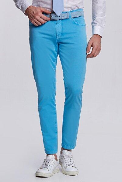 Hemington Erkek Slim Fit Turkuaz 5 Cep Yazlık Pantolon
