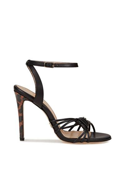 Dıvarese Siyah Kadın Deri Sandalet