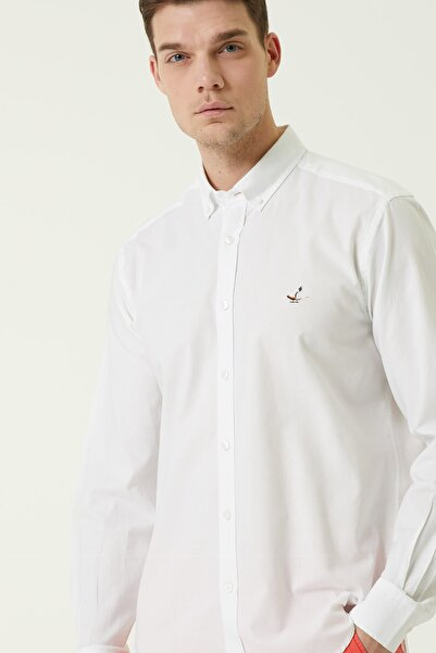 Beymen Club Comfort Fit Beyaz Düğmeli Yaka Oxford Gömlek