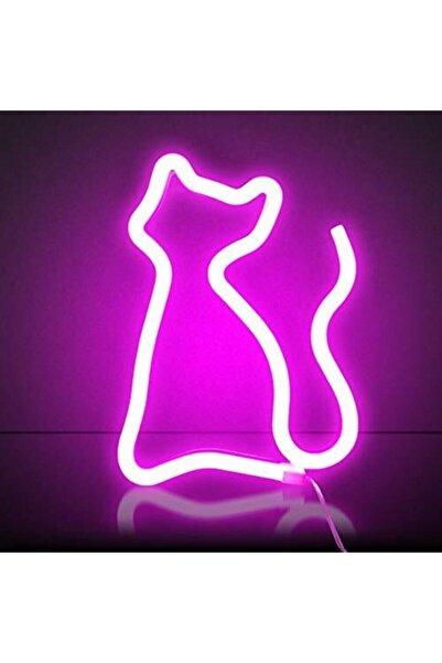 Keskin Hediyelik Neon Kedi Işıldak Led Işıklı Aydınlatma Dekoratif Duvar Askılı Lambası Abajur
