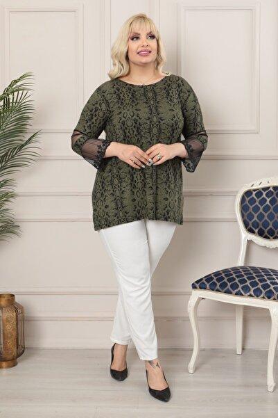 LİKRA Kadın Yeşil Büyük Beden Yılan Desen Kolları Tül Detay Lı Viskon Bluz