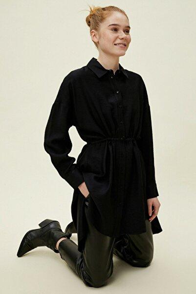 Koton Kadın Düğme Detaylı Siyah Tunik 0YAK68486CW