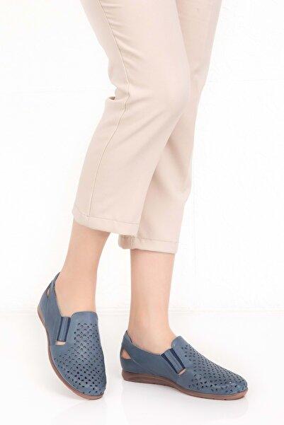 Gondol Kadın Mavi Hakiki Deri Ortopedik Taban Günlük Ayakkabı Esfa.152y - - 40