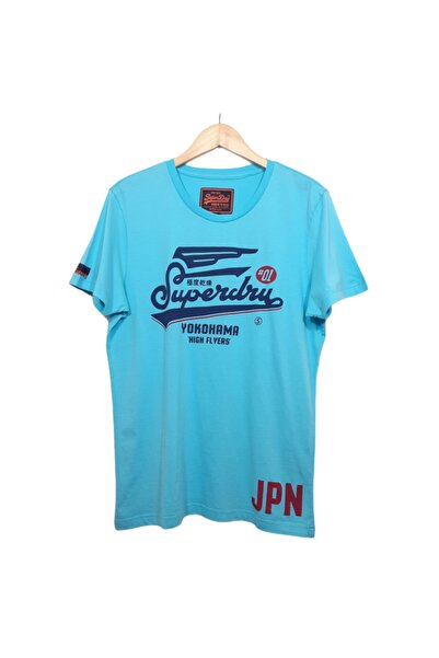 SUPERDRY Unisex Mavi Baskılı T-shirt