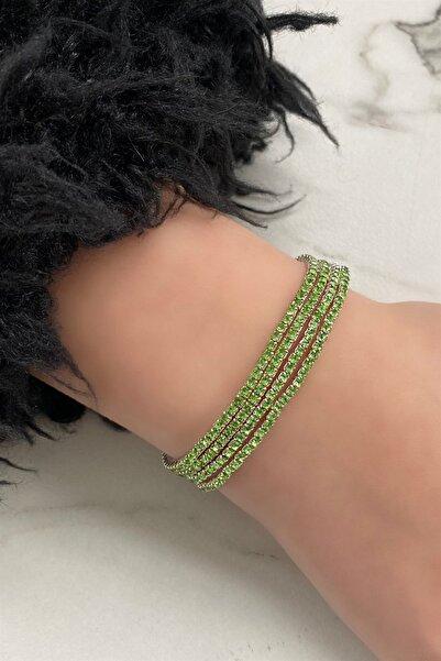 TAKIŞTIR Kadın Yeşil Renk Dörtlü Taşlı Bileklik