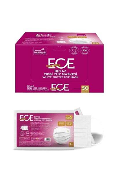 Ece Tıbbi Maske Beyaz Tekli Kağıt Ambalaj 50 Adet