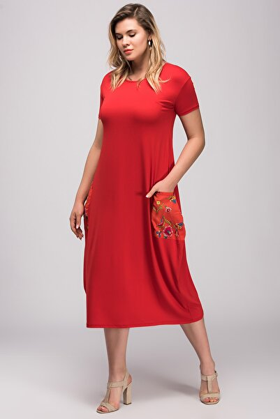 Şans Kadın Kırmızı Yazma Cep Viskon Kumaş Elbise 65N24029