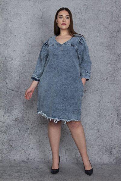 Şans Kadın Mavi Yıkama Efektli Cepli Dikiş Detaylı Kot Elbise 65N23971