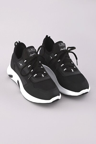 Arlin Erkek File Detaylı Bağcıklı Hafif Konforlu Esnek Siyah-beyaz Spor Ayakkabı