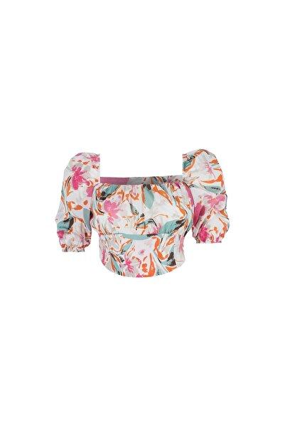 Quzu Kadın Mint Desenli Balon Kol Crop Bluz