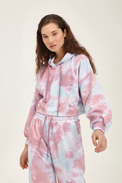 Quzu Kadın Lila Batik Desenli Sweatshirt