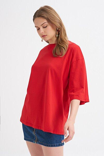 Quzu Truvakar Kol Basic Oversize Tişört Kırmızı