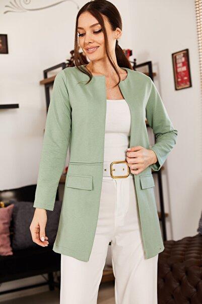 armonika Kadın Yeşil Beli Dikişli Uzun Ceket ARM-18K001308