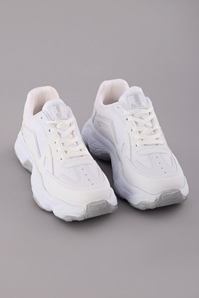 Arlin Kadın Bağcıklı Esnek Konforlu Hafif File Detaylı Yüksek Taban Beyaz Spor Ayakkabı