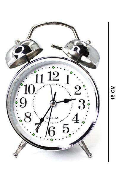 Zarifce Gümüş Çalar Saat (BÜYÜK BOY İŞIKLI VE ALARMLI)