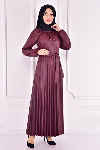 ModaMerve Kadın Bordo Deri Elbise