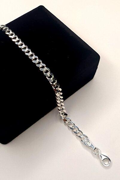 Piraye Silver Unisex Gümüş Gurmet 925 Ayar Zincir Bileklik 4 mm