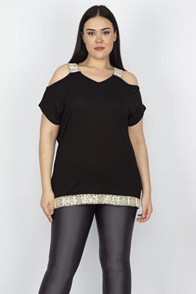Şans Kadın Siyah Omuz Dekolteli Askı Ve Etek Ucu Payet Dantel Detaylı Bluz