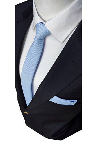 Elegante Cravatte Gök Mavi Renginde Armürlü Dokuma Kravat Ve Mendil