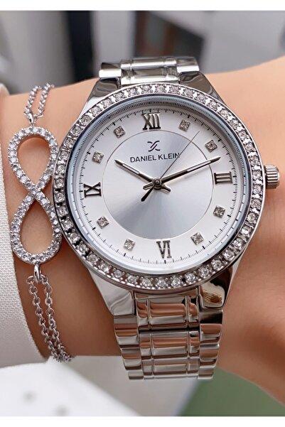 Daniel Klein Gümüş Renk Taşlı Metal Kordon Kadın Kol Saati Ve Bileklik