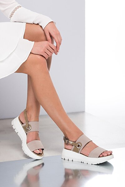 İnci Hakiki Deri Taupe Kadın Sandalet 120120189031