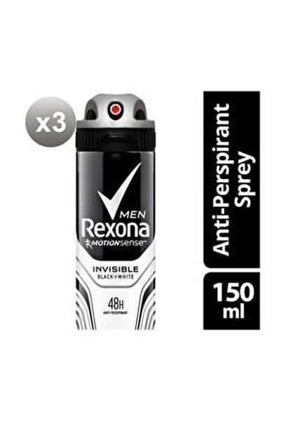 Erkek Deodorant Sprey Invisible Black White 150 ml X 3 Adet
