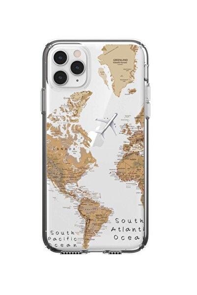 mooodcase Iphone 11 Pro Max Uyumlu Dünya Harita Desenli Premium Şeffaf Silikon Kılıf