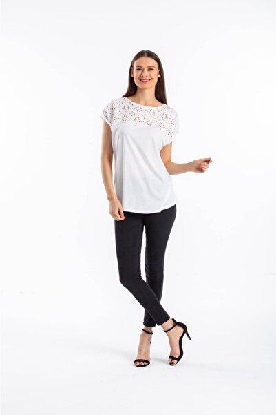 ROMOD Kadın  Beyaz Desenli Bluz
