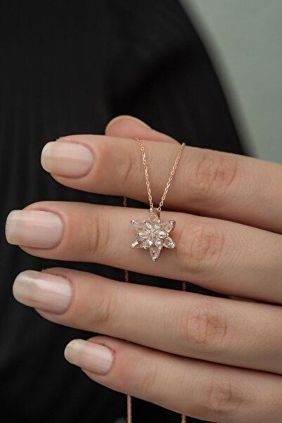 Nereze 925 Ayar Beyaz Lotus Çiçeği Kolye Kadın Gümüş Kolye