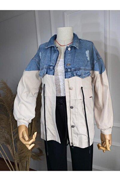 Flow Kadın Mavi Yırtık Detaylı Beli Büzgülü Kot Ceket