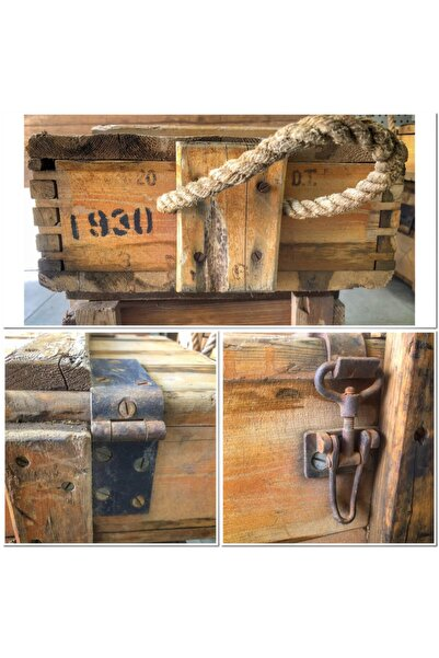 MODA MOBİLYA Dekoratif Mühimmat Sandığı 1930 Yılı Çam Ahşap 75x36x15 Ölçülerinde 90 Yıllık