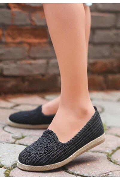 ESPARDİLE Kadın Siyah Örgülü Babet Ayakkabı