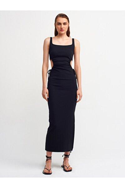 Dilvin Kadın Siyah Pencere Detaylı Uzun Elbise